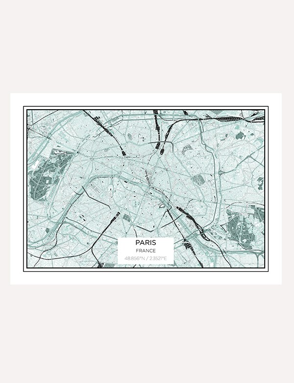 Paris City Map Print